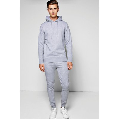 Hooded Tracksuit with Zip Details - grey