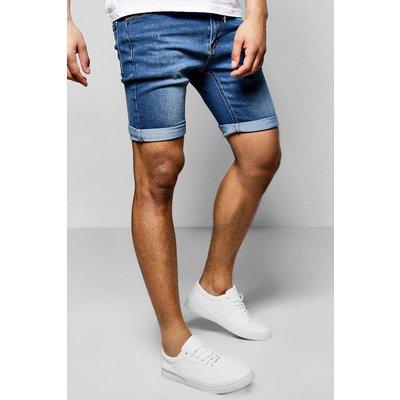 Fit Washed Denim Shorts - blue