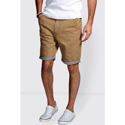 Shorts with Stripe Turn Ups - stone