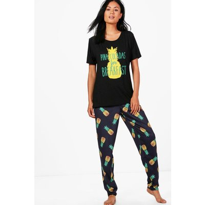 Pina Colada T & Legging Set - black