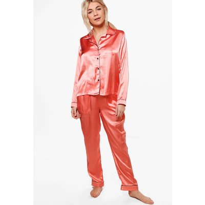 PJ With Contrast Piping - coral