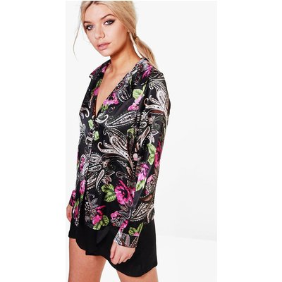 Satin Floral Paisely Night Shirt - multi