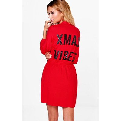Xmas Vibes Caviar Bead Dressing Gown - red