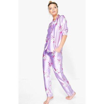 Satin Unicorn Print Button Down Trouser Set - purple
