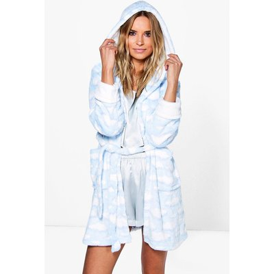 Cloud Print Hooded Dressing Gown - blue