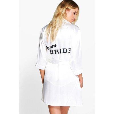 Team Bride Satin Kimono Robe - white