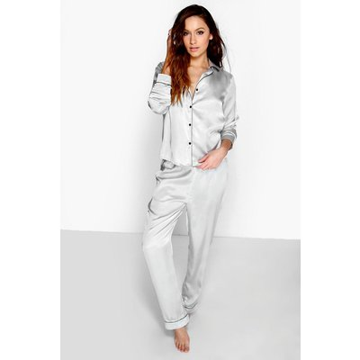 Contrast Piping Button Down Satin Set - grey