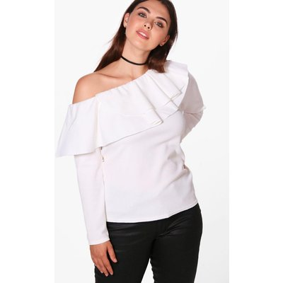 Laura Slash Neck Ruffle Top - ivory