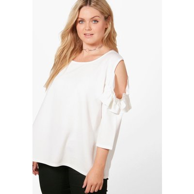 Lauren Frill Sleeve Cold Shoulder Top - ivory