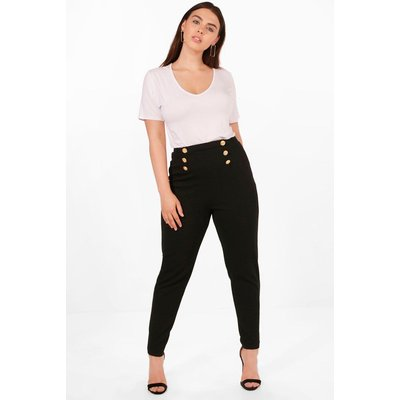 Jemima Button Front Trousers - black
