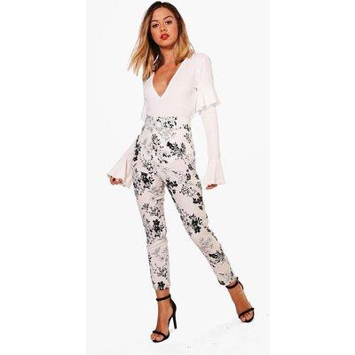 Kara High Waisted Side Zip Tapered Trouser - white