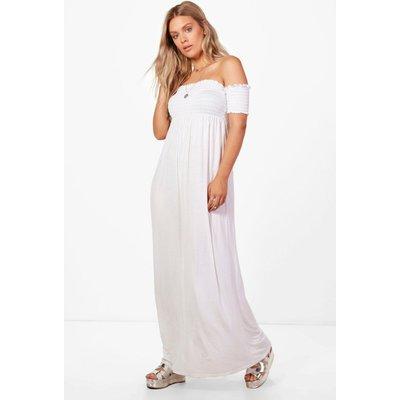 Jess Off The Shoulder Shirred Maxi Dress - white