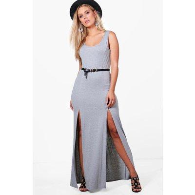 Bianca Split Front Maxi Dress - grey marl