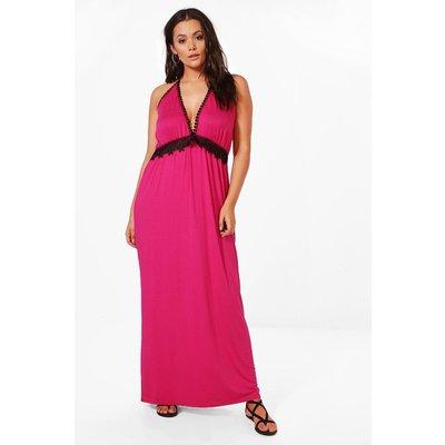 Stella Crochet Insert Plunge Maxi Dress - pink