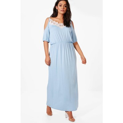 Faith Lace Cold Shoulder Maxi Dress - bluebell