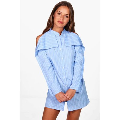 Kelis Stripe Open Shoulder Shirt Dress - blue