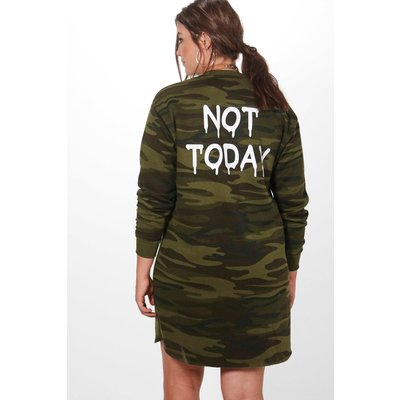 Gerogie Printed Back Camo Sweat Dress - multi