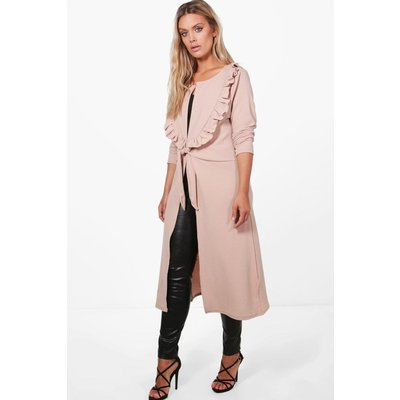 Sophie Ruffle Front Duster Jacket - stone