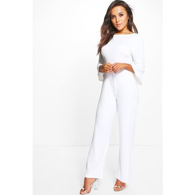 Lucy Frill Cuff Wide Leg Crepe Jumpsuit - ivory