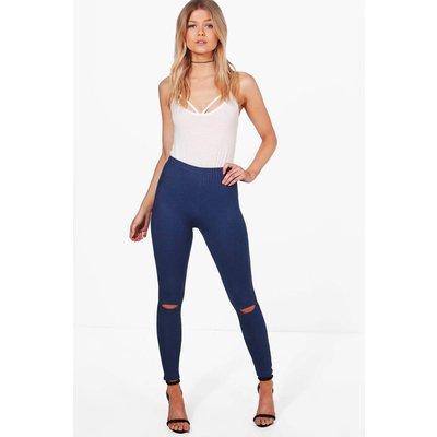 Jane Split Knee Pocket Basic Jeggings - mid blue