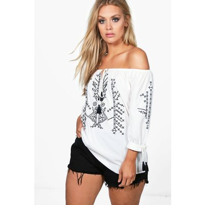 Rose Off The Shoulder Embroidered Top - white
