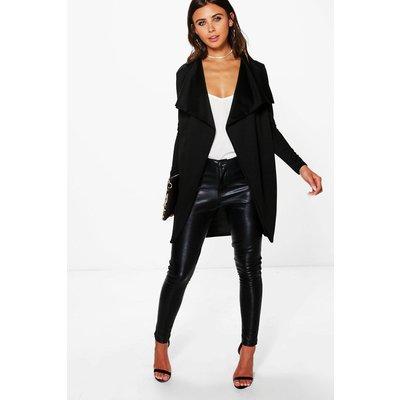 Hannah Ponte Wrap Front Duster Jacket - black