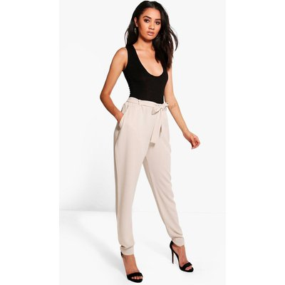 Maria Tie Waist Tapered Trousers - stone