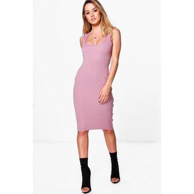 Nina Zip Side Bodycon Midi Dress - mauve