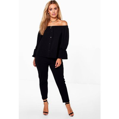 Amy Off The Shoulder Top  Trouser Co-ord - black
