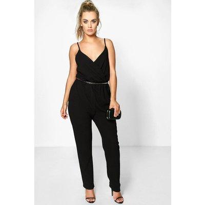 Anna Crepe Wrap Front Jumpsuit - black