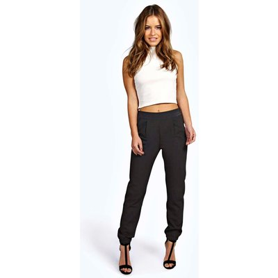 Nicola Woven Trouser With Cuff Detail - black