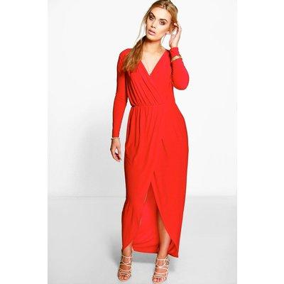 Zoe Slinky Wrap Front Maxi Dress - red