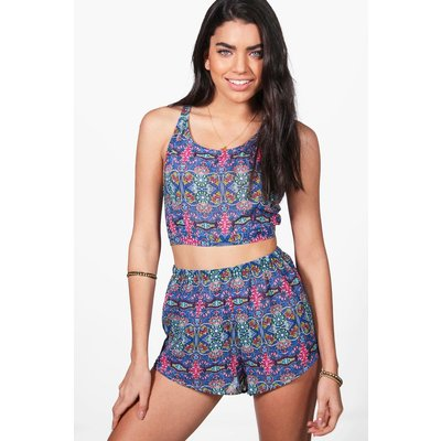 Neon Tile Print Beach Co-ord - blue