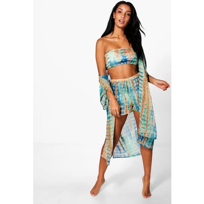 Tie Dye Three Piece Beach Co-ord - blue