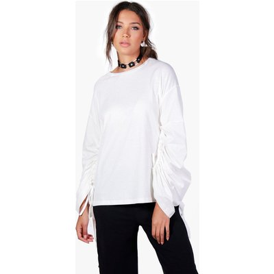 Milly Ruched Sleeve Oversized Top - ivory