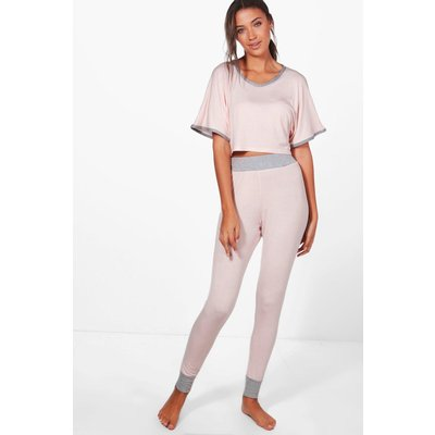 Anna Crop And Contrast Legging Lounge Set - nude