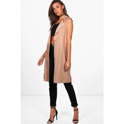 Molly Sleeveless Belted Duster - stone