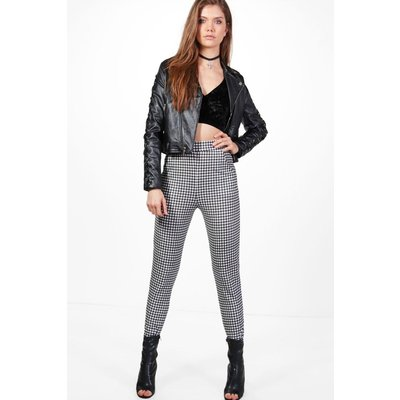 Amara High Waist Gingham Trousers - black