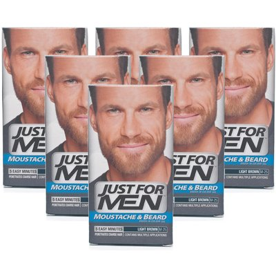 Just For Men Brush-In Facial Hair Colour Light Brown - 6 Pack