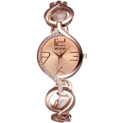 WEIQIN Women's Fashionable Hollow-out Bracelet Watch - Rose Gold