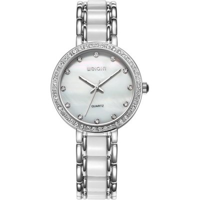 WeiQin Shell Case Rhinestones Decorated Dial Watch - Silvery White