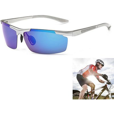 Men's Outdoor Cycling Ultralight Polarized Sunglasses - Blue + Silver