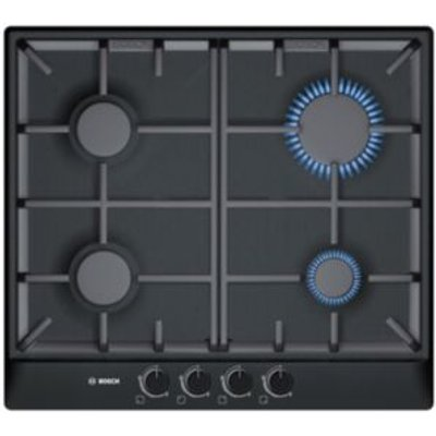 4242002488097 | Bosch PCP616B90E 4 Burner Black Brushed Steel Gas Hob Store