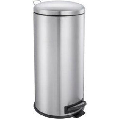 5052931603268 | Cooke   Lewis Abora Soft Close Brushed Chrome Stainless Steel Round Pedal Bin  30L