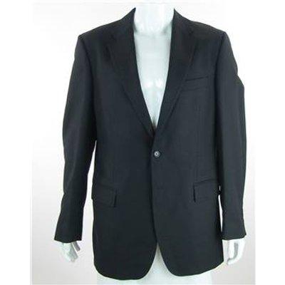 Aquascutum - Size:42L - Black - 100% Wool Single Breasted Suit Jacket