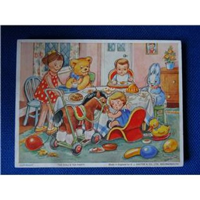vintage wooden jigsaw puzzle - Doll's Tea Party