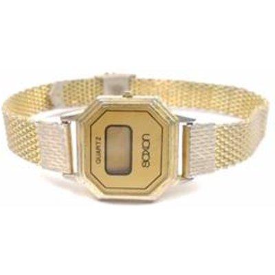 Gold tone digital hexagon face watch