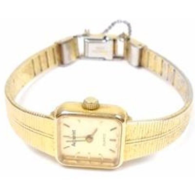 Gold tone square face watch