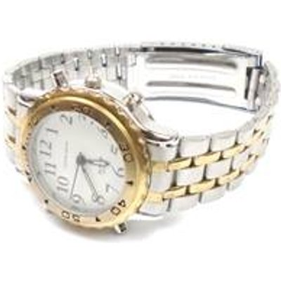 Grey & gold tone round face talking watch