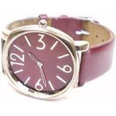 Round face brown strap watch
